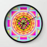 chakra Wall Clocks featuring Shri Chakra by Artisticcreationsusa