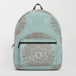 Rose Gold Mint Floral Mandala Backpack