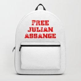 Free Julian Assange Red Grunge Backpack