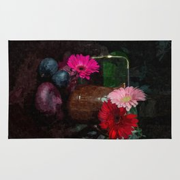Still life with figs, onions and gerberas Rug