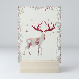 Snowflake Christmas Stag Mini Art Print