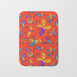 Pattern with Firebirds (on red background) Bath Mat