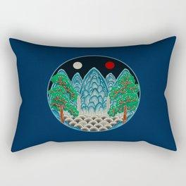 Five peaks of the Sun and Moon in Winter: King's painting Type B (Minhwa-Korean folk art) Rectangular Pillow
