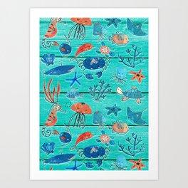 Blue & Orange Under the Sea Art Print