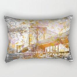 Brooklyn Bridge New York Mixed Media Art Rectangular Pillow
