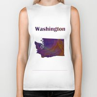 washington Biker Tanks featuring Washington Map by Roger Wedegis