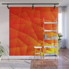 Bright yellow pattern of red triangles and irregularly shaped lines. Wall Mural