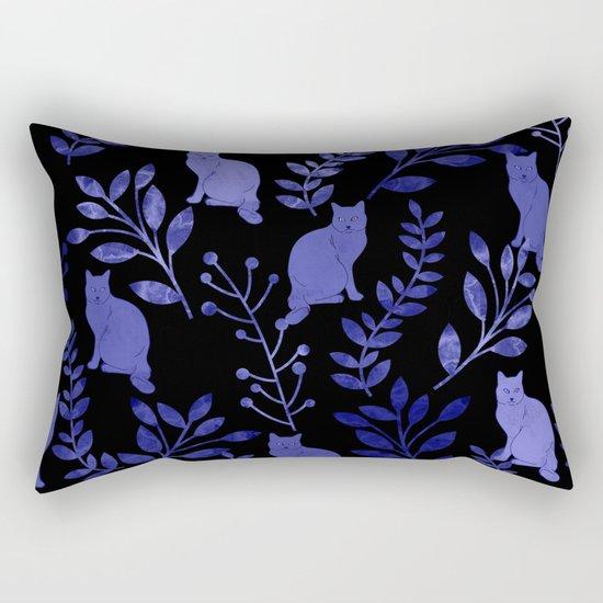 Watercolor Floral and Cat Rectangular Pillow