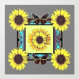 Rustic Western Sunflowers & Butterflies  Canvas Print