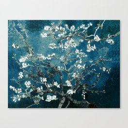 Van Gogh Almond Blossoms : Dark Teal Canvas Print