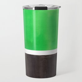 Abstract Midcentury Modern Minimalism Pop Art Colorful Emerald Green Black Squares Rothko Travel Mug