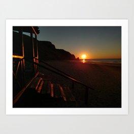 Shack by the sea at sunrise Art Print