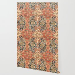 Geometric Leaves VII // 18th Century Distressed Red Blue Green Colorful Ornate Accent Rug Pattern Wallpaper