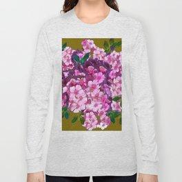PURPLE-PINK PHLOX FLOWERS AVOCADO ART Long Sleeve T-shirt