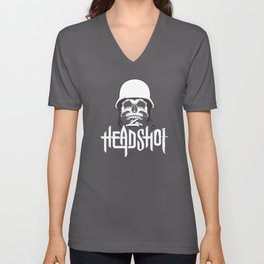 Skull Design Headshot Unisex V-Neck