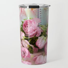 Shabby Chic Cottage Pink Floral Ranunculus Peonies Roses Print Home Decor Travel Mug
