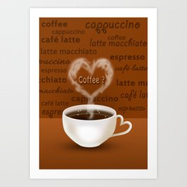 Coffee? Heart Shaped Smoke Art Print