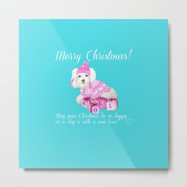 Bichon Frise pink christmas holiday themed pattern print pet friendly dog breed gifts Metal Print