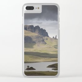 The Storr including Old Man of Storr, Isle of Skye and the Loch Leathan, Scotland Clear iPhone Case