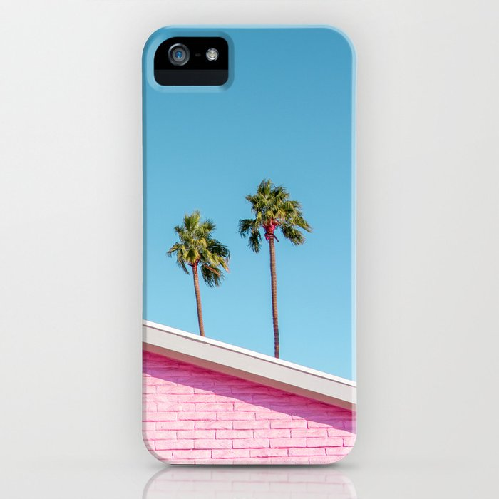 Pink House Roofline with Palm Trees (Palm Springs) iPhone Case