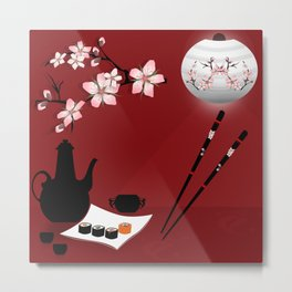 Oriental cuisine . Sushi and rolls . Metal Print