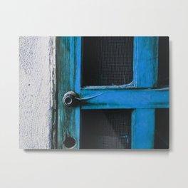 closeup old blue vintage wood door texture background Metal Print