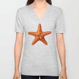 Orange starfish Unisex V-Neck