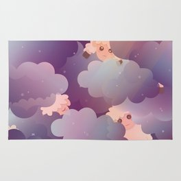 Heavenly Baby Sheep II - Wine Purple / Plum Color, Star Night Sky Background Rug