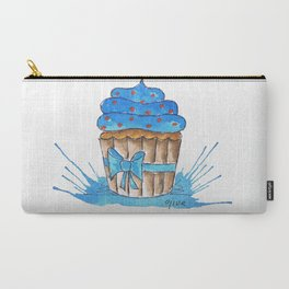 Blue cupcake with ribbon Carry-All Pouch