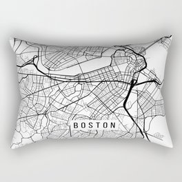 Boston Map, Massachusetts USA - Black & White Portrait Rectangular Pillow
