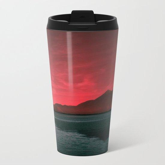 RED SKY OVER LAKE Metal Travel Mug