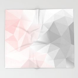 pink and gray geometric low poly background Throw Blanket