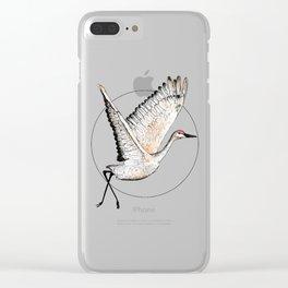 Flying Sandhill Crane Illustration / Crane Bird Drawing / Flying Crane Clear iPhone Case