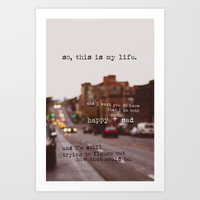 the perks of being a wallflower Art Prints featuring perks of being a wallflower - happy + sad by lissalaine