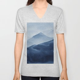 Blue Mountain, Abstract Watercolor Art Print By Synplus Unisex V-Neck