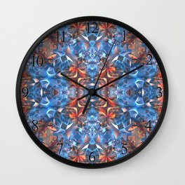 Blue and Red Glamour Stars Wall Clock