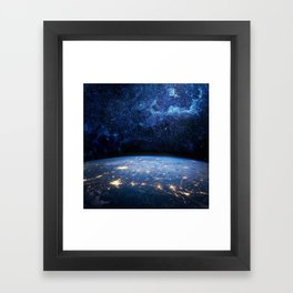 Earth and Galaxy Framed Art Print
