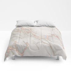 Marble Rose Gold Blush Pink Metallic by Nature Magick Comforters