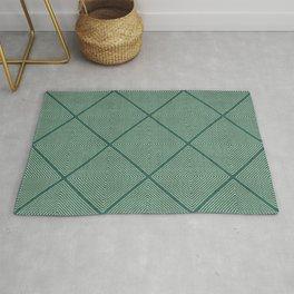 Stitched Diamond Geo Grid in Green Rug