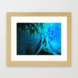 Blue Digital Numbers Framed Art Print