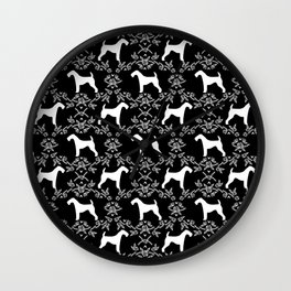 Airedale Terrier silhouette florals dog pattern pet art minimal black and white Wall Clock