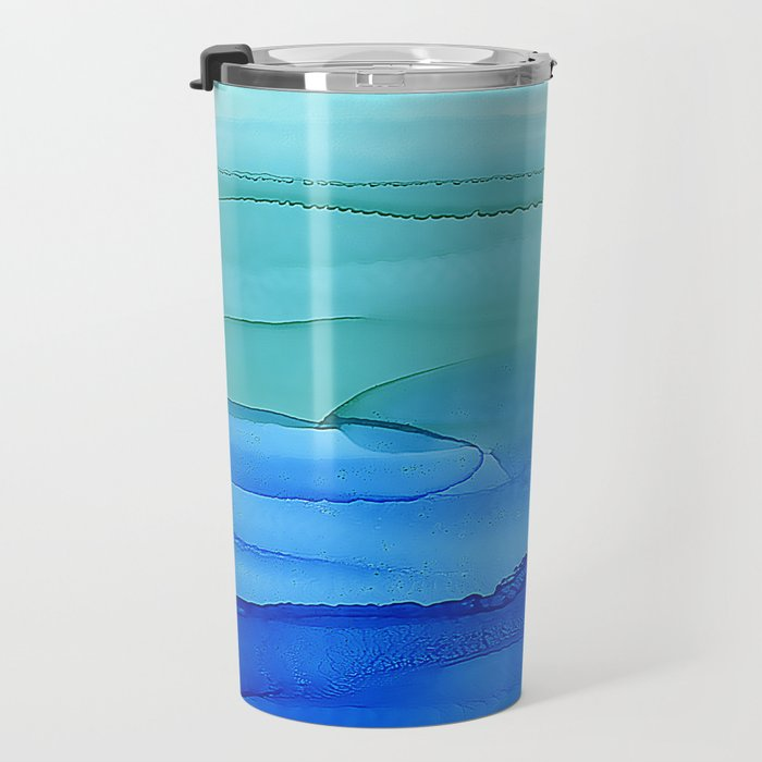 Alcohol Ink Seascape Travel Mug