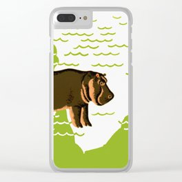 Vintage African Hippo Zoo Ad Clear iPhone Case