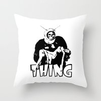 the thing Throw Pillows featuring THING by Taylor Bissett