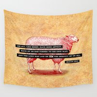 scripture Wall Tapestries featuring Like Sheep by Peter Gross