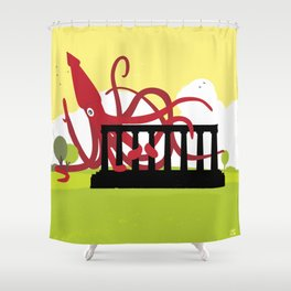 Giant Squid Attacks Edinburgh's Acropolis Shower Curtain