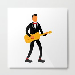 Guitarist in Tuxedo Playing Guitar Retro Metal Print