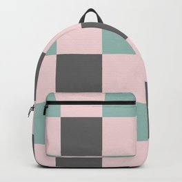 Contemporary Mint Pink Gray Gingham Pattern-Mix and Match Backpack