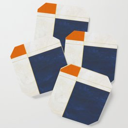 Orange, Blue And White With Golden Lines Abstract Painting Coaster