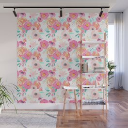 Indy Bloom Design Blush White Florals Wall Mural